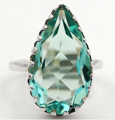 8CT Aquamarine Faceted Teardrop Sterling Silver Ring. US Size 7.75