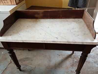 Victorian Washstand White Marble top Mahogany Stand with drawers.