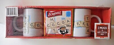 Scrabble Hot Cocoa/coffee 2 Mug Set 2005  New In Sealed Package