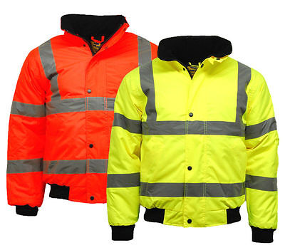 Premium Hi Vis Visbility Viz Bomber Jacket Waterproof Safety Work Coat (Den/Ham)
