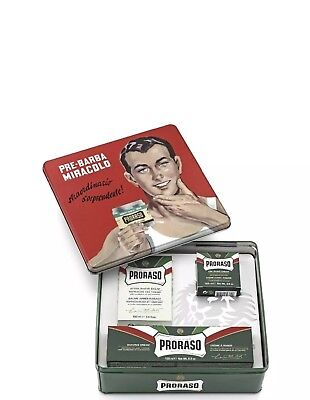 NEW PRORASO VINTAGE GIFTBOX KIT EUCALYPTUS Shaving Kit / Fast & Free Ship