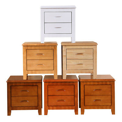 Pre-assembled Solid Rubberwood Bedside Table Nightstand with 2 Storage Drawers