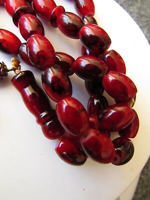 Antique. Red Coral Prayer Beads. Yusr Rosary Inlaid With Silver Masbaha Tasbih