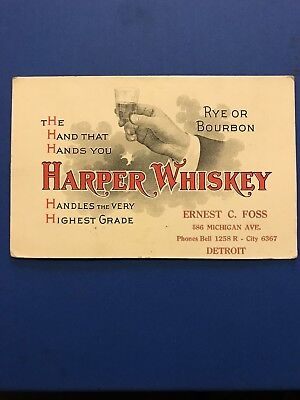 Harper Whiskey Trade Card Ten Commandments Detroit