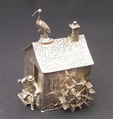 Continental silver model of a water mill with miller and stork on the roof, 7cms