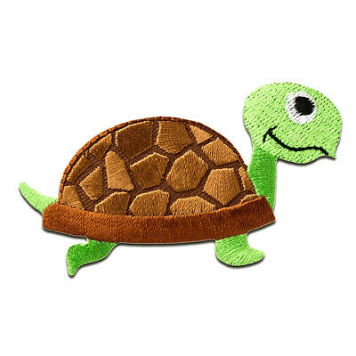 Iron on patches - turtle animal - brown - 7,3x4,1cm - Application Embroided badg