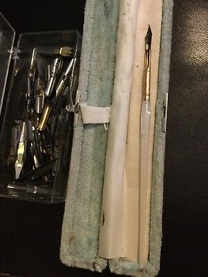 antique grieshaber gold top mother of pearl foutain pen with large group of tips
