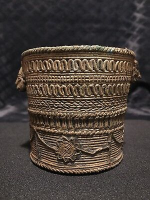 Antique Vintage African Ashanti Lost Wax Brass Bronze Kuduo Container