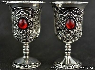 China Tibet Silver Style Carving Totem Inlay Red Bead Pair Usable Cup NO00150