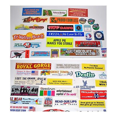 Vintage bumper stickers decals lot 50 travel music political 1960 1970 1980 1990