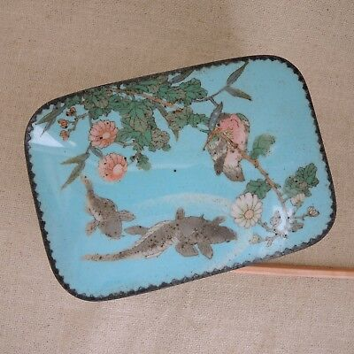 Antique Japanese Cloisonne Box Koi Fish Bird Enamel Meiji Cigarette Jewelry Vtg