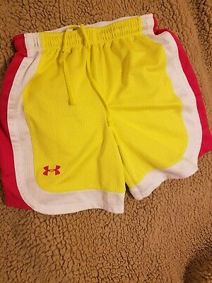 UNDER ARMOUR Girls Yellow PinkAthletic Shorts Size Youth Small YS