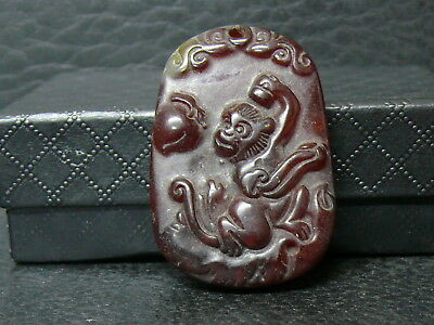 (eLB29) Tibet:   Beautiful Natural Vintage  Hand Carved  Jade  Pendant
