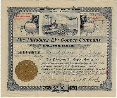 NEVADA 1908 The Pittsburg Ely Copper Company Stock Certificate