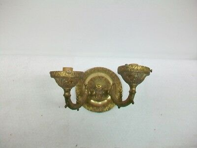 Antique Brass Two Light Wall Mount Fixture Sconce Cloth Wires (See Description)