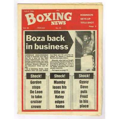 Boxing News Magazine July 2 1982 Mbox3097/C  Vol 38 No.26 (miss print) Boza back