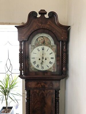 """George 111 Tall Case Antique  Grandfather Clock 8day 7feet 8"""""""