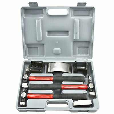 Neiko 20709A Heavy Duty Auto Body Hammer and Dolly Set, 7 Piece | Repair Kit for