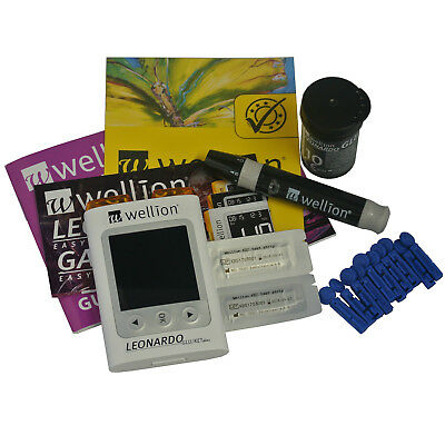Blood Glucose Ketone Meter Monitor Test Kit with Strips Lancets Case - Leonardo