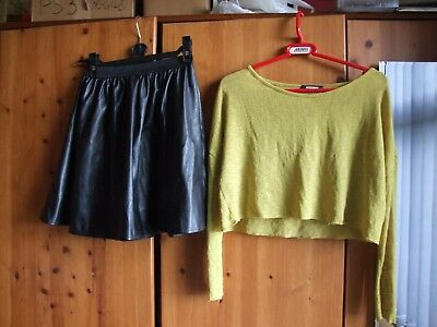 Bundle Of Leather Skirt And Crop Top Size 6/8 Misguided And Primark Used