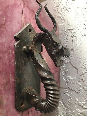 Hand Crafted Cast Iron Horned Dragon Beast Medieval Door Knocker