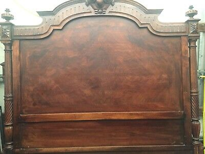 Antique Solid Double Oak Bed Frame ( With Base / No Mattress ( 6ft By 4ft )