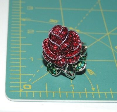Beauty Beast Red Rose Flower Rhinestone Rhodium Silver size 9 Cocktail Ring d 51