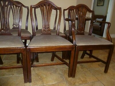 Set of eight antique mahogany George III shield back dining chairs c1785