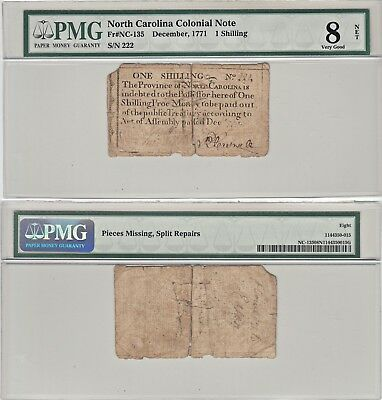 December 1771 One Shilling North Carolina Colonial Currency PMG Very Good 8 Net