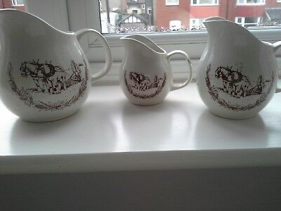 3 x Vintage Jugs by Melba Country Kitchenware - Staffs, England (Hand Crafted)