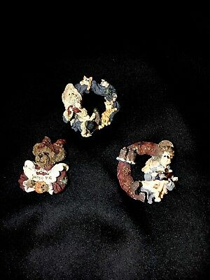 """Lot Of 3 Vintage Boyd's Bears & Friends Brooches.  """"Eat Dessert"""" - Sailor, Cats"""