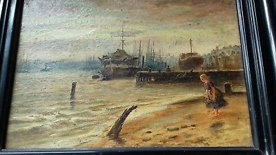Oil Painting c1850 Victorian Maritime Ships docks South/North Shields,child girl
