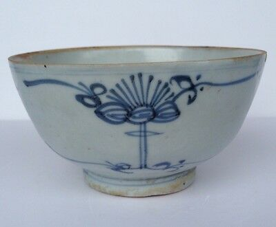 Transitional Ming Bowl Blue White With Base Marking Inscription
