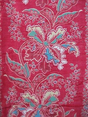 Vintage French Quilted Fabric Piece Circa 1870  Red, Pink,Blue Floral 39 x 130cm