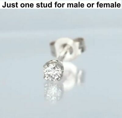 Tiny Stud 0.03ct One Earring 10K Solid Gold  Real Brilliant Cut Diamond VIDEO !!