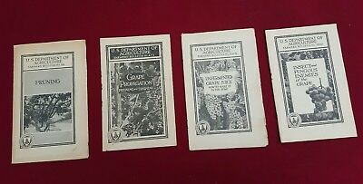 Lot of 4 - 1920's US Dept Of Ag. Farmers' Bulletins Grape, Pruning, Insects/Fung