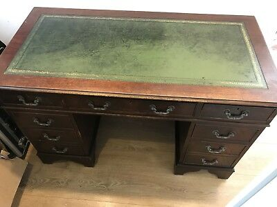 Pedestal Desk Antique Dark Wood Vintage Green Leather Top