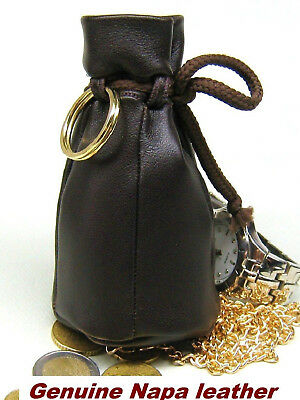 Old style Genuine Nappa Real Leather Coin Wallet Purse Drawstring pouch Brown