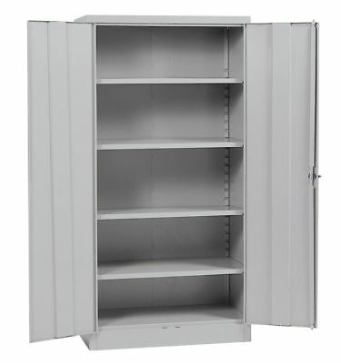 "Metal Storage Cabinet Steel Locking With Doors Lock Garage Shop 72"" Tall Grey"