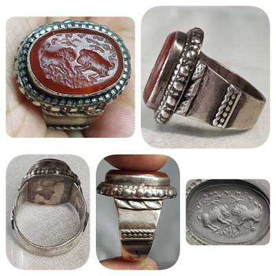 Medieval Old Rare Agate 2 lion intaglio stone Silver Beautiful Ring  # C2