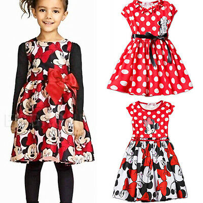Kids Children Minnie Mouse Polka Dot Casual Girls Dress Summer Princess Dresses