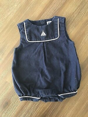 Janie And Jack Baby Infant Layette Boys Blue Bubble Romper Nautical 0-3 months