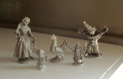 Spoontiques & Radcliffe Pewter Yorkie, Clown, Girl, Wizard and Chicken Lot