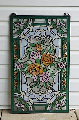 """20"""" x 34""""Rose Flower Tiffany Style stained glass window panel"""