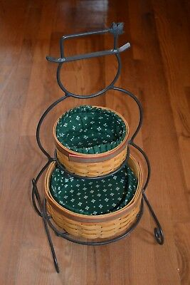 Longaberger (2000) Frosty Snowman Wrought Iron stand with 2 lined baskets