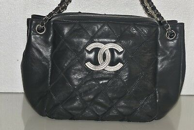 New CHANEL GRAY Quilted LAMBSKIN Leather Bag Shopper Shoulder Accordion  Handbag db61561568