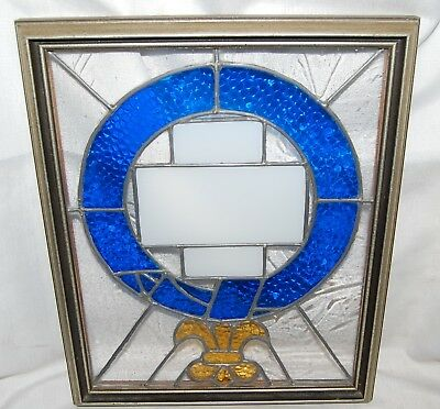 "Blue White Gold Stained Glass Window 11"" x 14"""