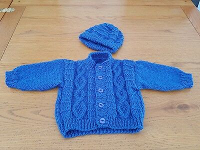 Hand knitted baby cardigan/jacket and hat