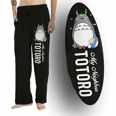 Mens Womens NEW My Neighbor Totoro Black Pajama Lounge Pants Size L-XL