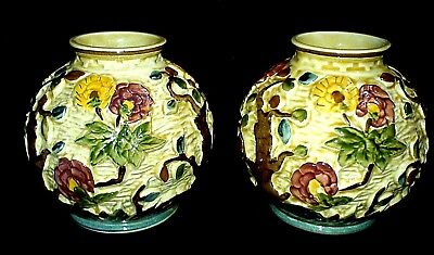 H J Wood Indian Tree Staffordshire 4 3/4 inch High Pair Vases Hand Painted 574